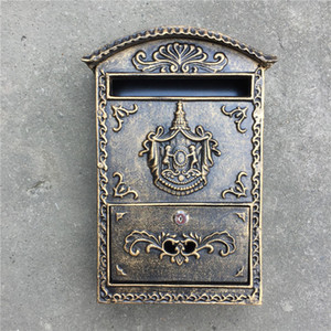 Wholesale Cast Aluminum Mailbox Postbox Embossed Trim Decor Metal Mail Post Letters Box for Home House Store Apartment Garden Outdoor Wall Bronze Lock