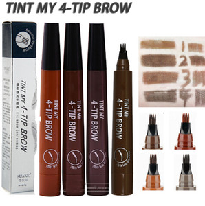 Eyebrow Tattoo Pencil 4 Head Fine Sketch Enhancer Fork Tip Eyebrow Tattoo Tint Pen Eyebrow Gel Waterproof Microblading Makeup