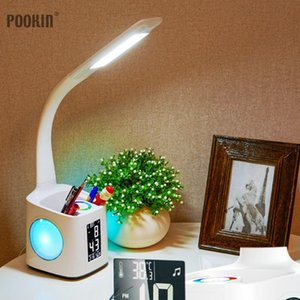 Wholesale Led Eye Protect Dimmable Desk Lamp Led Foldable Reading Table Lamp Light Rgb Touch Control Calendar Alarm Clock Temperature Lamp