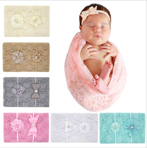 Wholesale Newborn lace blankets baby girl cotton lace photography props with solid headbands kids flower bow knot hair bands