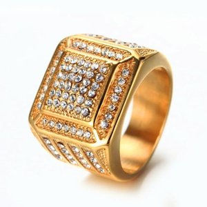Wholesale New Fashion Ice Out Hiphop Rings Gold Party Jewelry For Men Bling Ice Out King Hip Hop Ring Accessories