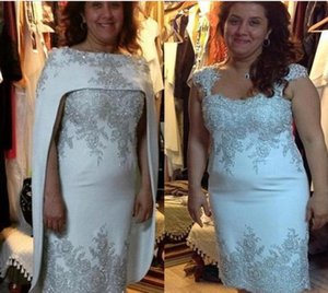 Wholesale gorgeous mother bride gowns resale online - two pieces Gorgeous Silver Lace Appliqued Mother of the Bride Dresses With Cape Formal Women Wedding Dresses Middle East Dubai Formal Gowns