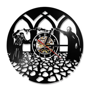 Harry Potter Theme 3D Record Wall Clock Dumbledore Vinyl Record Clock Creative Modern Design Room Decoration LED with 7colors