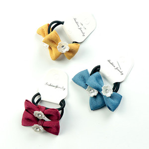 Wholesale 2Pcs Set Girl Scrunchy Hair Tie Baby Bows Hair Ropes Children Flower Ponytail Holder Rubber Band Kids Korean Cute Hairband