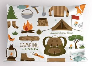 Wholesale Adventure Pillow Sham Camping Equipment Sleeping Bag Boots Campfire Shovel Hatchet Log Artwork Print Decorative Standard Queen Pillow Case