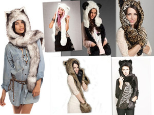 Wholesale Animal Warm Winter Hat Beanie Hats Caps Men Glove HeadWear Scarf Faux Fur Cap Fluffy Plush Hood Scarf Shawl Gorro Bonnet Bone