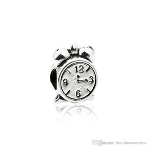 Creative Silver Loose Beads Alloy Clock Shaped Engraved Charms Fits DIY Pandora Bracelets Pendant Jewelry Accessories Findings HJ188