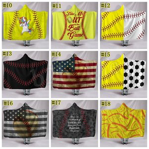 Baseball Football blanket Sherpa Softball Blanket Sports Theme Hooded Cape Soccer Bathing Towel Swadding Blankets MMA1655 5pcs