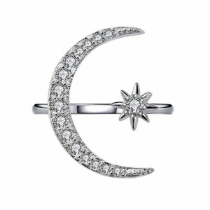 Wholesale stars channel resale online - Crystal Moon Ring Diamond Moon Star Rings Adjustable Engagement rins Fashion Jewelry for Women Will and Sandy Dropship