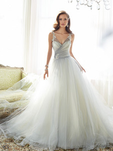 A-Line Wedding Dresses Sexy heart-shaped collar with shoulder straps and color dress pendulum multi-layer net tail custom bag back button