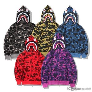 Wholesale 19FW No fleece Japanese series popular logo camouflage terry cloth cardigan zipper animal head teeth printed hoodie hoodie hoodie