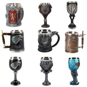Wholesale 2019 GOT Game Of Thrones Mugs Stainless Steel Resin Metal Goblet Creative D Embossment Drinking Coffee Beer Cups Iron Table Decoration