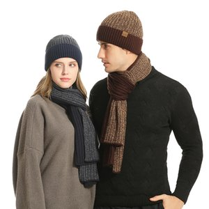 Winter hats for Women scarf Glove set For Men Hat Wool Skullies Beain and scarves Gloves set three Pieces Keep Warm on Sale