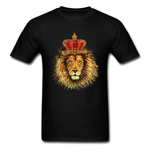 Wholesale Mens Faddish Tops Shirts The king of the jungle LK Lion Summer Fall Short Sleeve Cotton Fabric Round Collar Men T Shirts Black