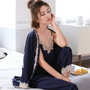 Wholesale Women s silk satin pajamas set sexy lace pajamas set sets of underwear trousers women s casual pants