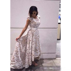 2019 New Elegant Cap Sleeves High low Evening Dresses White Champagne Lining Lace Appliques Formal Party Prom Gowns Custom Real Images on Sale