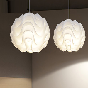 Wholesale Modern Nordic Pendant Lights PP Wave ball Hanglamps White Globe Pendant Lamps Kitchen Fixtures Indoor Lighting Luminiare Lamp