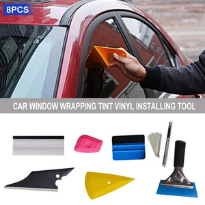 8 PCS Vehicle Glass Protective Film Car Window Wrapping Tint Vinyl Installing Tool Including Squeegees Scrapers Film Cutters on Sale