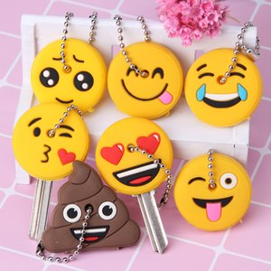 Wholesale Emoticons Smile Key Cover Cap Silicone Cute Cartoon Head Amusing Yellow Face Stool Keychain Women Porte Clef Key Ring