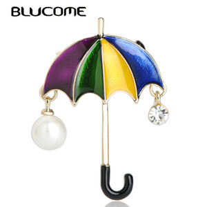 Wholesale brooch pearl Blucome Cute Rainbow Umbrella Shape Brooches Simulated Pearls Enamel Alloy Jewelry Sweater Clothes Accessories Women Kids Gifts