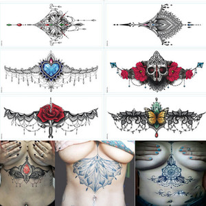 Sexy Chest Jewelry Tattoo BIG Size 290mm*130mm Body Art Tattoo Temporary Sexy Tattoo Stickers