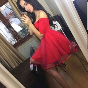 Wholesale Simple Red Half Sleeves Homecoming Dresses A Line Off The Shoulder Short Party Dresses For Prom Custom Made Homecoming Gowns
