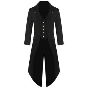 Retro Classic Men Coats Steam Punk Tuxedo Gentleman Jackets Suits Black Men'S Prom Party Dovetail Windbreaker Plus Size 4XL 2018