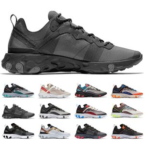 2019 Best Mens Trainers React Element 55 87 Running Shoes Designer Sports Black Gold Orange Men Women Sneakers Chaussure Size 36-45