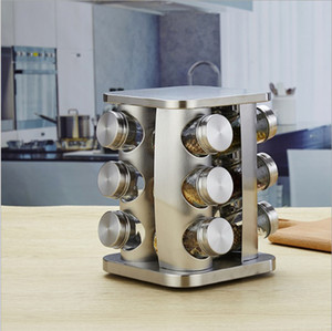 Wholesale 12 Jars bottle Canister Revolving kitchen Countertop Spice Square Rack Organizer Stainless Steel Seasoning Storage Organization Tower Holder