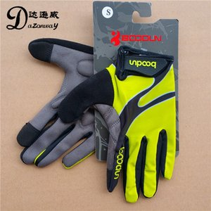 Wholesale BOODUN Men Cycling gloves Full finger Touch screen Lycra fabric GEL Pad Non slip MTB Bike Bicycle gloves Green S XL BD2200939