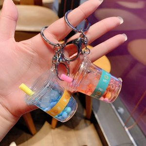 Creative Mini Soft Drink Keychain Coconut Milk Beverage Bubble Acrylic Moving Liquid oil Drop decompression Jewelry gift