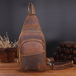 Wholesale mens sling bags for sale - Group buy Vintage Mens Chest Bags Genuine Leather Crossbody Chest Packs Crazy Horse Leather Sling Bags Mens Messenger