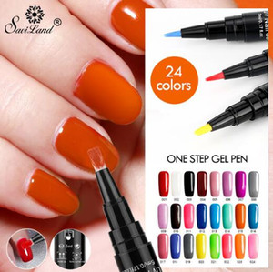 unha 24 venda por atacado-Hot em Gel Verniz Pen Glitter One Step unhas de gel Polish Cores No Need Base Coat Top