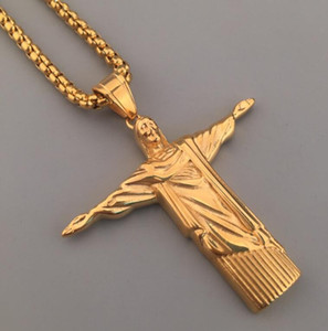Wholesale Mens Iced Out Necklace Micro Angel Jesus Wing Pendant Hip Hop Necklace Male Designer Jewelry Gift