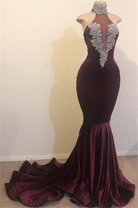 Wholesale Burgundy Mermaid Velvet Prom Dresses Sheer Halter Neck Sleeveless Fishtail Long Formal Evening Gowns With Appliques Plus Size Graduations