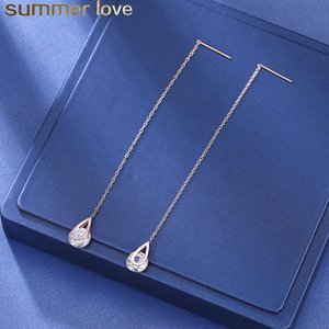 Wholesale threader earrings resale online - Round Cubic Zircon CZ Diamond Rhinestone Long Chain Drop Earrings for Women Line Threader Water Dangle Earring Bridal Bridesmaid Jewelry