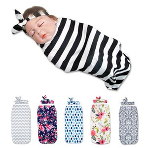 Wholesale Newborn Photography Prop Baby Blankets Printed Newborn Infant Baby Boys Girls Sleeping Swaddle Muslin Wrap Headband L