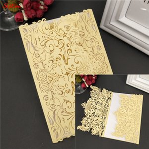 Wholesale 1pcs Laser Cut Wedding Invitations Cards Marriage Birthday Bridal Shower invitations with blank inside wedding decoration Z