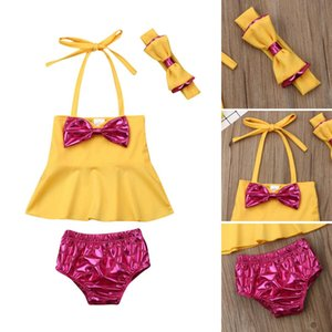 Imcute 2019 New in Fashion Cute Baby Girl Yellow Bow Halter Tops+Shorts+Headband 3PCS Bikini Set Swimwear Swimsuit Bathing Suit