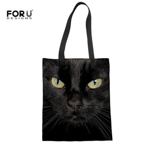 Wholesale FORUDESIGNS Black Cat Women Recycel Shopper Bags Female Cute Eco friendly Handbags Ladies Travel Summer Beach Linen Grocery Bag