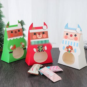 Wholesale Santa Claus Candy Bags Hollow out Window Gift Boxes Merry Christmas Cookies Package