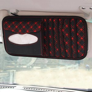 Wholesale Dragonpad In Multifunctional Car Leather Sun Visor Tissue Bag Box CD Holder Card Business Card Collection