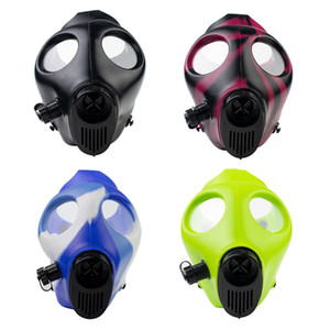 Wholesale Silicone Mask Creative Acrylic Smoking Pipe Gas Mask Pipes Acrylic Bongs Tabacco Shisha Pipe Water Pipe Mix Color