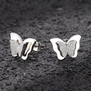 Wholesale New Butterfly Earrings Rose Gold Color Stainless Steel Stud Earrings for Women Child Frosted Butterfly Cartilage Ear Studs