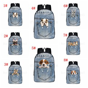 Wholesale 8Styles Cat dog backpack Pocket pet cartoon animals printed backpack school bag student teenager Storage Organizer shoulder bags FFA2815