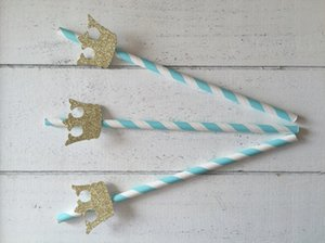 Wholesale Eco Friendly Blue Straws Prince Crown Party Decorations First Birthday Party Birthday Boy Birthday Boy Drinking Straws Kids Birthday