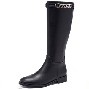 Wholesale metal knight resale online - Winter Metal Chain Black Leather Knee High Boots Fashion Motorcycle Long Boots Round Toe Side Zip Belt Knight Boots