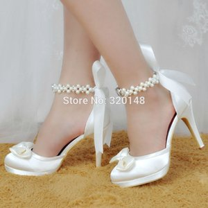 Wholesale Ivory White Women Bridal Wedding Shoes Bride Ankle Strap High Heels Platform Shoes Woman Ladies Satin Dress Pumps Closed ToeMX190917