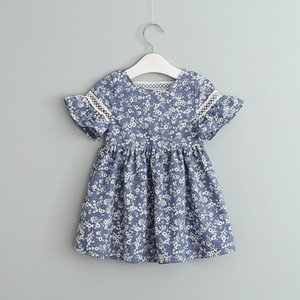 Wholesale Retail Girls Cotton Floral Printed Dress Kids Flare Sleeve Blue white porcelain Dresses Baby Back Lace Hollow Skirt Clothing design Cloth