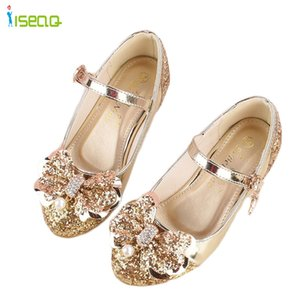 Wholesale Girl princess leather shoes children girls dancing shoes wedding and party cut outs kids glitter high heel years